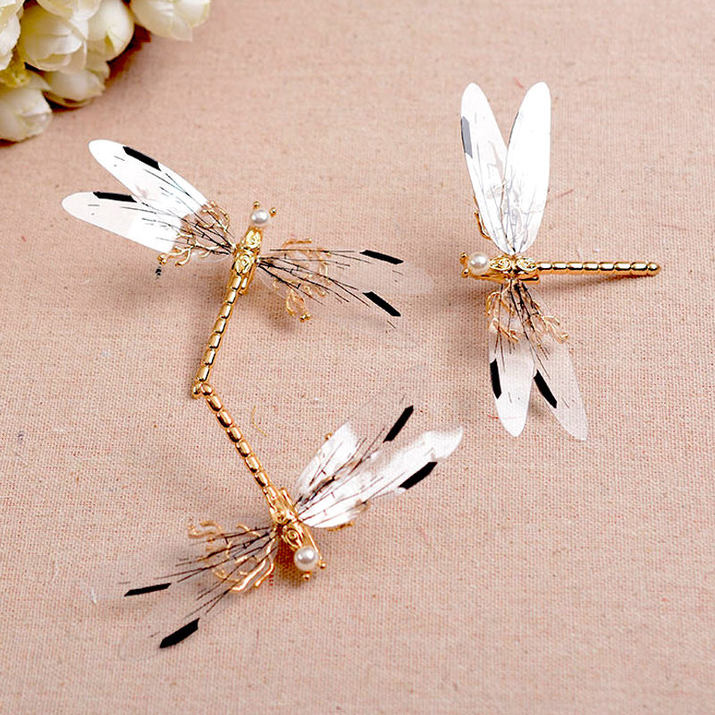 Hot Sale Trendy 1PC Golden Dragonfly Hairpins Bridal Headdress Wedding Hair Accessories Fashion