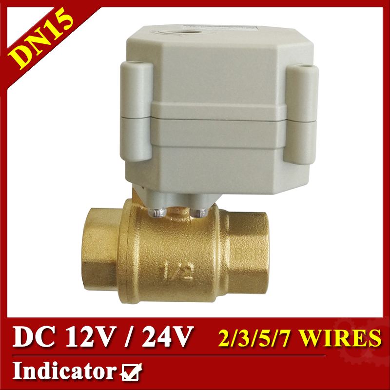 Tsai Fan Quality Motorized Ball Valve DC 12V 24V 2 Way Brass DN15 Flow Control Electric Valve Metal Gear Long Using Life цена