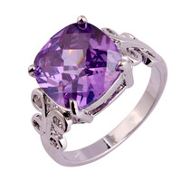 New Lady 12*12mm Princess Cut Amethyst 925 Silver Ring Size 7 8 9 10 Fashion Popular Purple Jewelry Women Party Rings Wholesale