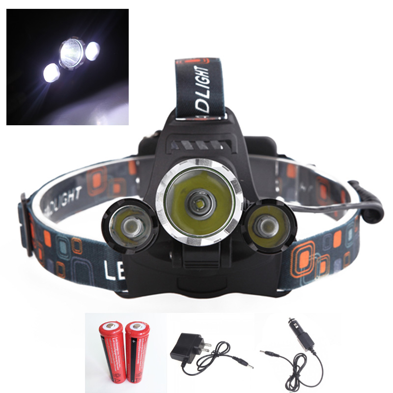 Best 5000 Lumen Lantern XM-L T6+2*R2 Led Headlamp 4 Modes Rechargeable Headlights Head Torch++AC&Car Charger+2X18650 Batteries