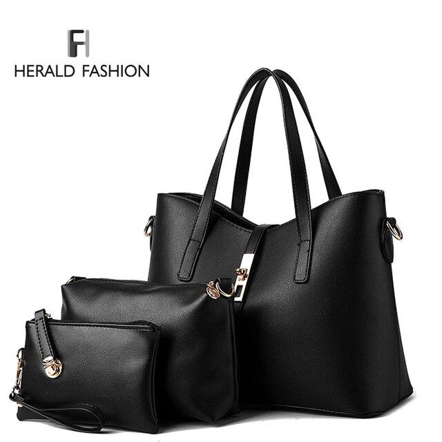 3 Unids/set Mujeres Bolsos PU Bolsos de Cuero de Las Mujeres Totes Bolso de Las Señoras Diseños Del Bolso + Messenger Bag + Bolso