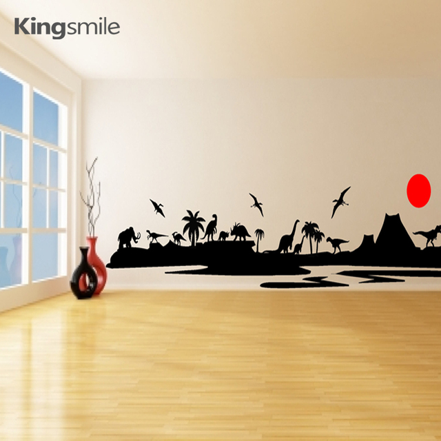 Amazing Dinosaurs Landscape Kids Wall Stickers Removable Vinyl Art Decals for Children Living Room Home Decor Drop Shipping
