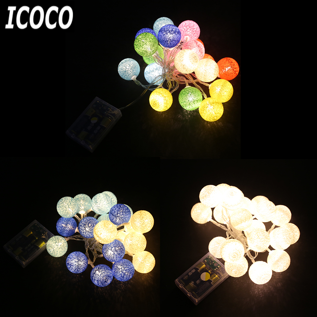 ICOCO Creative 1.2m/2.3m LEDs Cotton Balls Battery Box String Fairy Lamp Light for Xmas Wedding Party Bedroom Decorations Sale