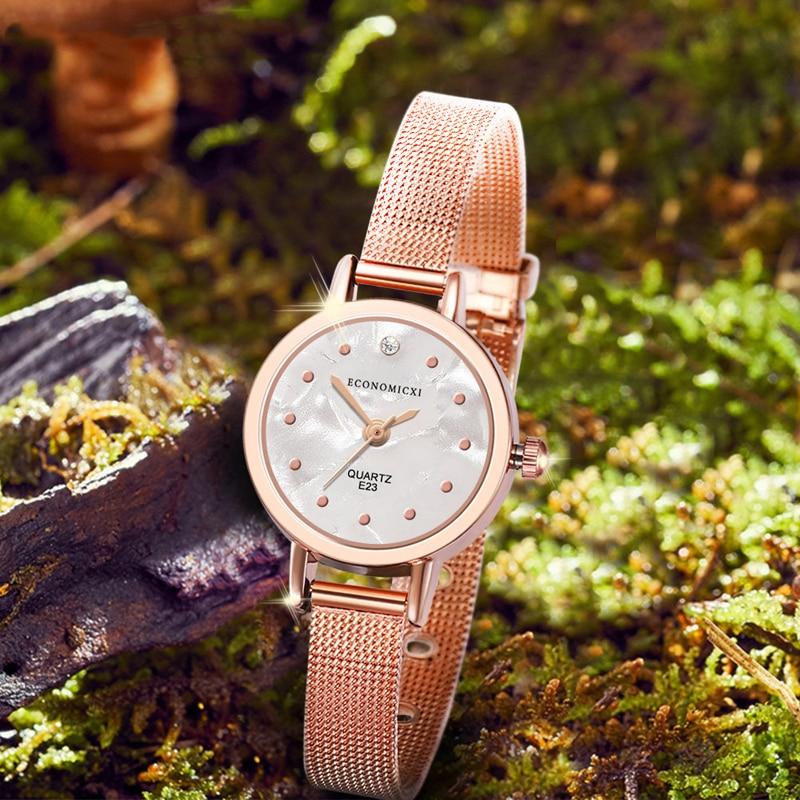 Luxury Simple Classic Watch Quartz Retro Pattern Exquisite Casual Women Gold Mesh Strap Ladies WristWatch Relogio Feminino in Quartz Watches from Watches
