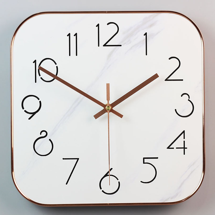 Marble Square Wall Clock Mechanism Silent Clock Wall Watches Home Decor Kitchen Guess Women Living Room Saati Modern Design Q336