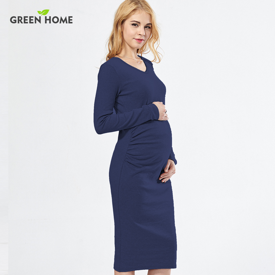 Green Home Solid Maternity Dresses Plus Size Pregnant Dress Spring Pregnancy Middle Dress Gravida Clothes for Pregnant Women stylish plus size keyhole neckline slit dress for women