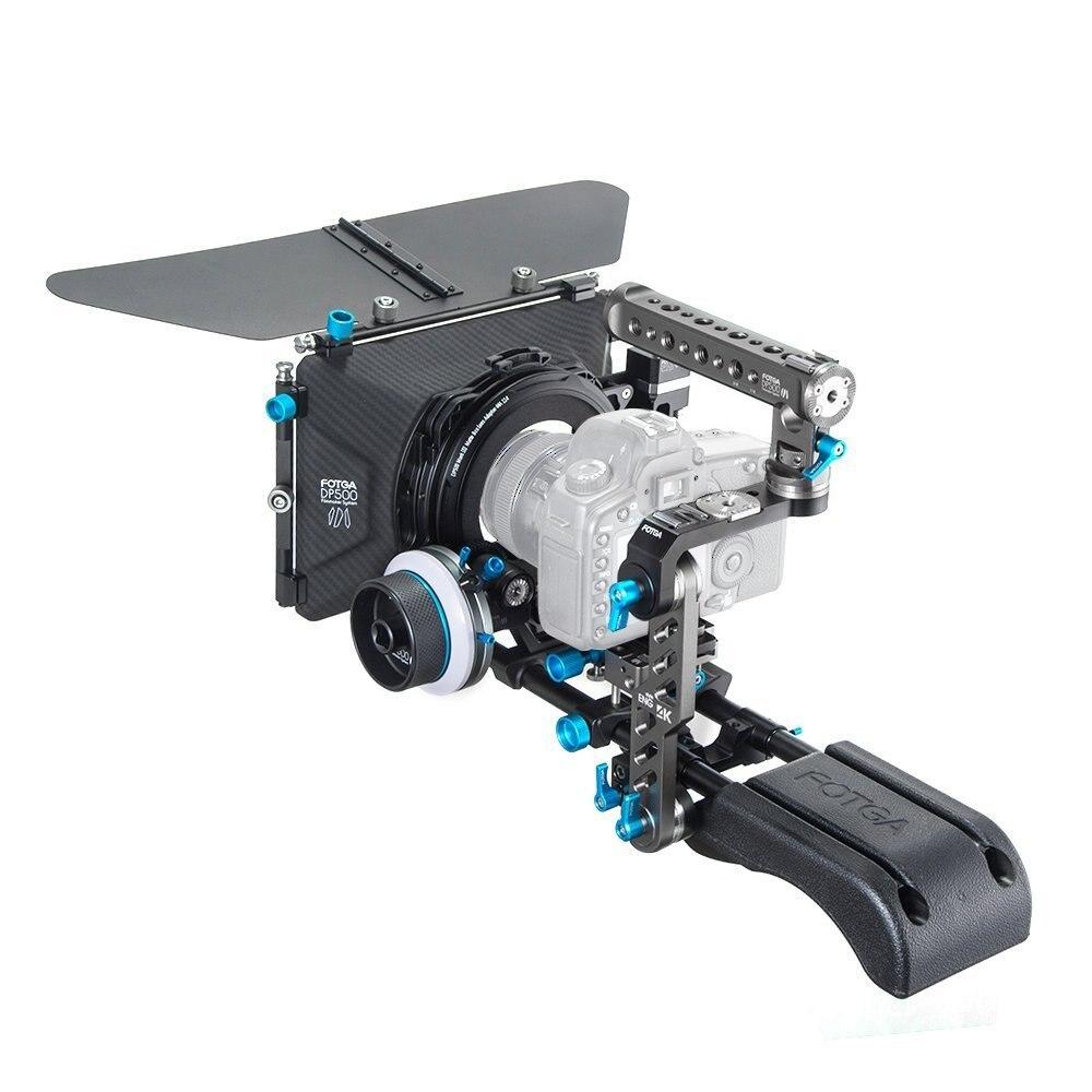 FOTGA DP500III PRO Matte Box + A/B Fermata Follow Focus + Piastra Base + Maniglia Kit DSLR Rig