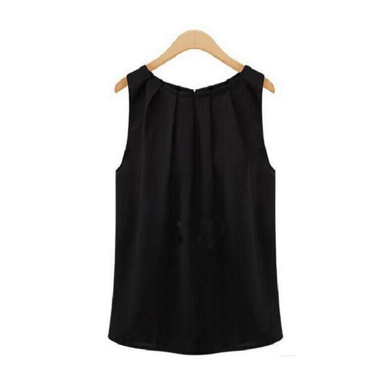 Women O-Neck Tops Sleeveless Singlet Top Chiffon Lady Elegant Office Summer 2018 Clothing Women Solid Black White Blouse
