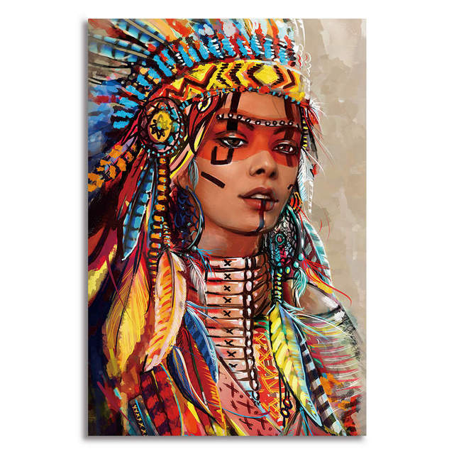 1 Panel Canvas Wall Art Prints Giclee Native American Indian Decor