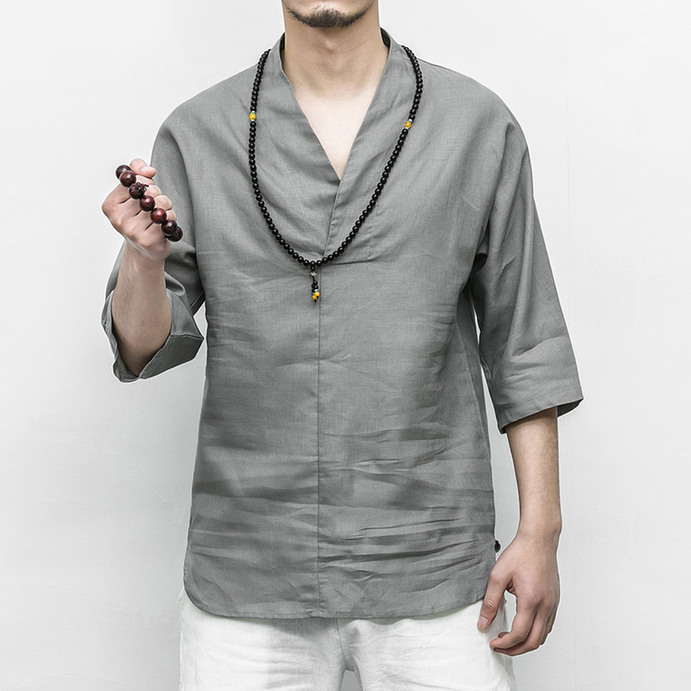 0293bbff4872 Chinese style Cotton Linen Men s shirt summer 2018 Solid Color Lightweight  breathable V neck Half sleeve shirt Plus Size M 5XL-in Casual Shirts from  Men s ...
