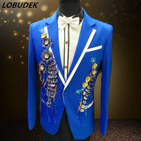 Men's Formal Suits Blue white Sequins Slim Blazers Nightclub Host performance Costume Wedding Party Prom Host singer Stage suits