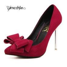 2016 New Sweet Bowtie Women's Pumps Nubuck Leather Rubber Non-Slip Sole Pointed Toe Elegant Ladies Dress High Heels Shoes Woman