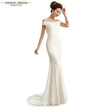 Hot Sale Sexy Lace Wedding Dresses Elegant Mermaid Off Shoulder Appliques Beaded White Ivory vestido de noiva