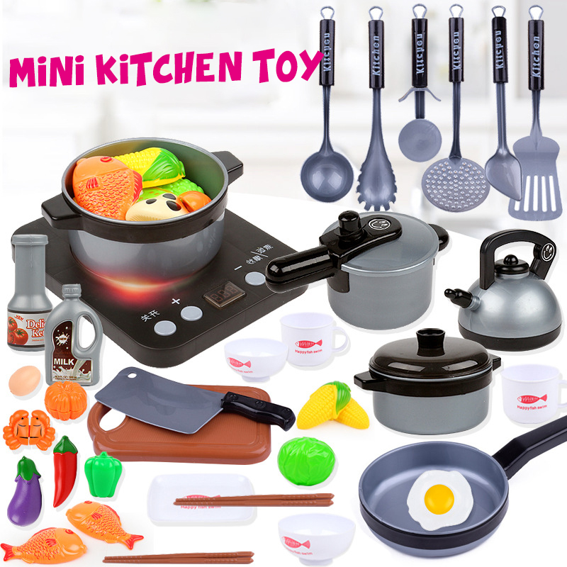 Plastic Kids House Kitchen Toy Cooking Cookware Children Play Kitchen Playset For Children