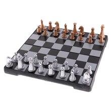 Магнитный 3 в 1 деревянный Международный дорожный Шахматный набор со складной шахматной доской развивающие игрушки Прочный кемпинг развлечения