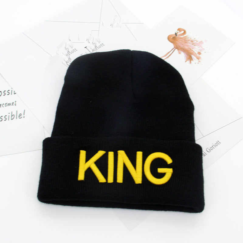 7c9ba7000c3e ... King Queen Beanie Men Women Stocking Hat Beanies Skullies Winter Hats  Cap Knitted Hiphop Hat Female ...