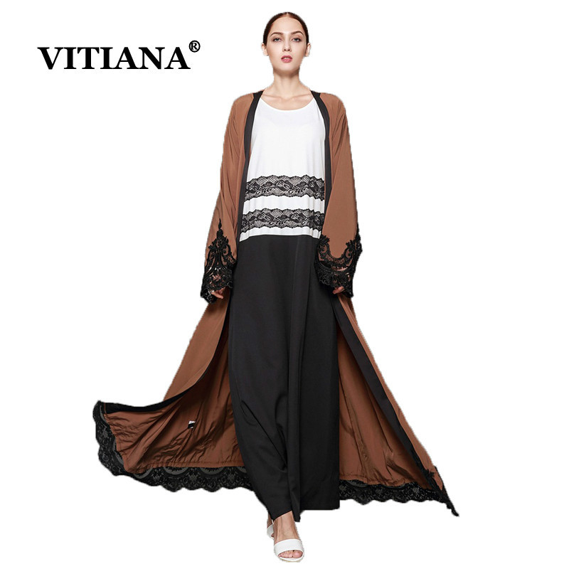 Women Long Islam Muslim Dress Plus Size 5XL 2017 Autumn Long Sleeve Loose Patchwork Button Floor-Length Dresses Islamic Abaya long sleeve printed floor length plus size dress