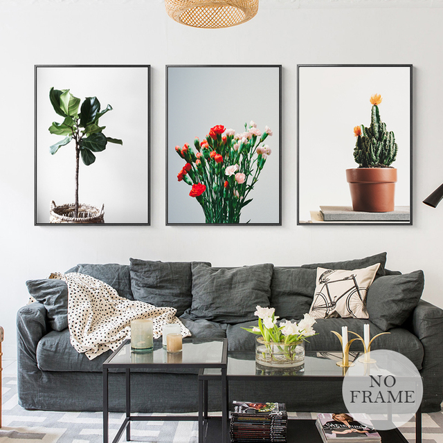 Nordic Style Poster HD Cactus Flower Plants Canvas Painting Home Decor Wall  Art Pictures For Living