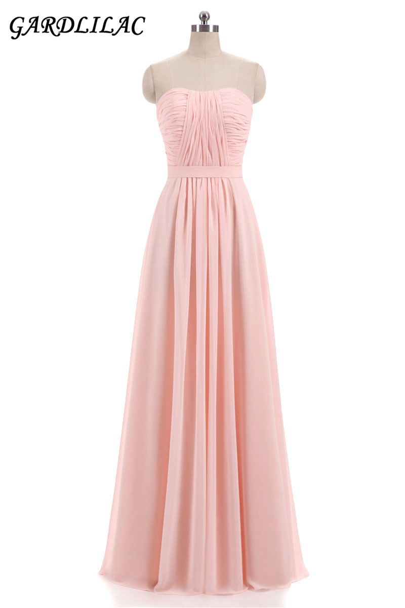 Beach Chiffon Bridesmaid Dresses Plus Size Wedding Party Gown Pleat ...