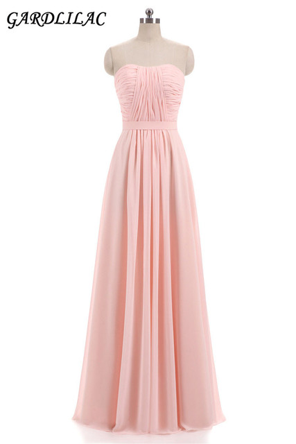 Beach Chiffon Bridesmaid Dresses Plus Size Wedding Party Gown  Pleat Top Maid of Honor Long Prom Dress 2018 New