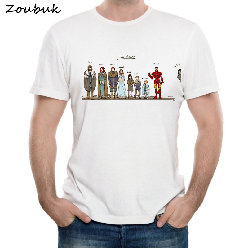 2018 New Summer Men House Stark   T     Shirt   Men's Game of Thrones Stark Family Members   T  -  shirt   Boy's White Short Sleeve Tshirt