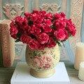 2016 Новый fashion Party Главная Свадьба Цветочный Декор Горячие продажи 15 Головки Искусственный Красная Роза Букет Поддельные Шелковый Цветок