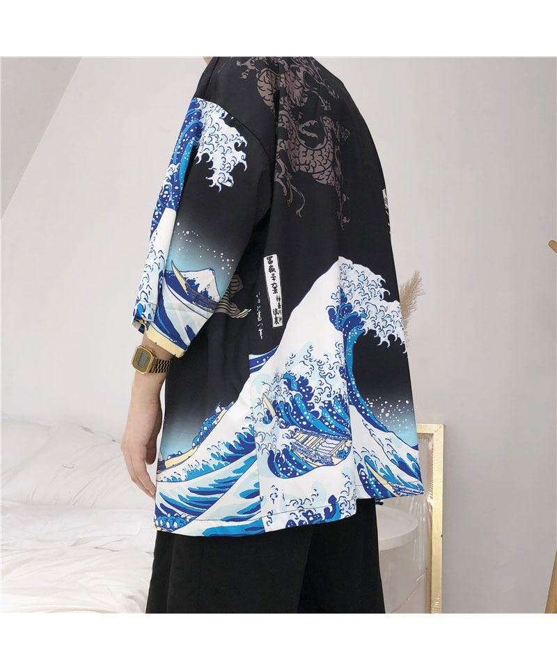 HTB1BzypmbArBKNjSZFLq6A dVXa2 Zongke Japanese Kimono Cardigan Men Wave and Carp Print Long Kimono Cardigan Men Thin Mens Kimono Cardigan Jacket Coat 2018