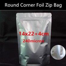 Wholesale 100pcs 14*22cm+4cm(Bottom) 240mic Round Corner Cutted Aluminum Foil Bag Coffee Beans/Nuts Zipper Bag Foil Sealer Bag