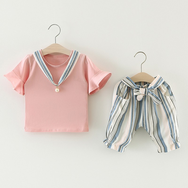 Summer Baby Girls Clothing Sets Solid Color T Shirts Striped Shorts Outfits Set in Clothing Sets from Mother Kids