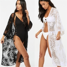 Sexy Lace Mesh beach cover up Women White Bikini Cover Beach Dress Swimwear Crochet Beachwear Bathing Suit Summer Cardigan