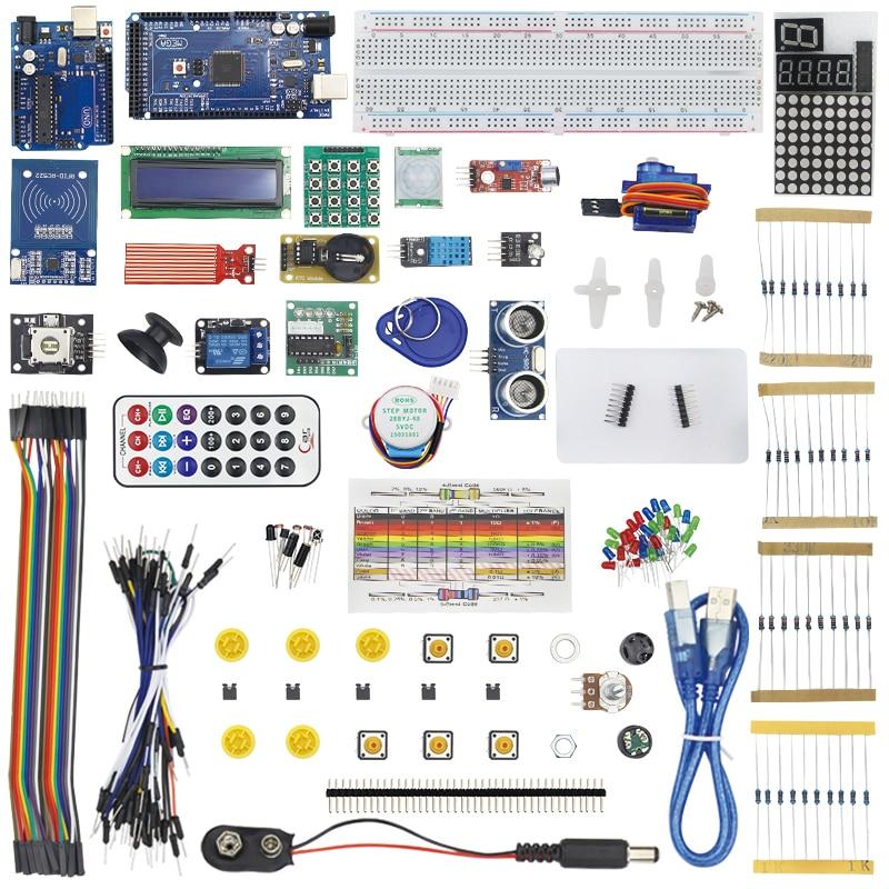 Kit de démarrage pour servomoteur pas à pas 1602 LCD LM35DZ SG90 capteurs HC-SR04 DHT11 platine de prototypage fil de démarrage pour MEGA 2560