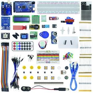 Starter kit para passo servo motor 1602 sensores lm35dz sg90 lcd HC-SR04 dht11 tábua de pão jumper fio para mega 2560