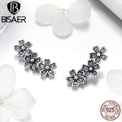 BISAER 100% 925 Sterling Silver Blooming Daisy Flower Stud Earrings for Women Clear CZ Fashion Earrings Jewelry 2019 ECE419