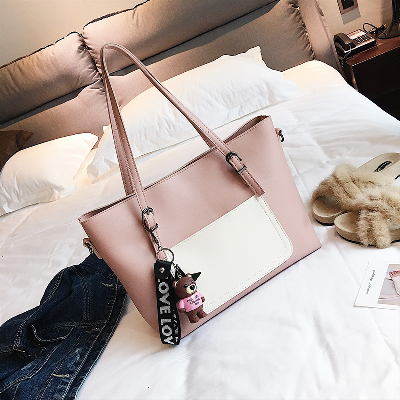 New handbag shoulder large capacity handbag ladies handbag high quality casual simple shopping bag color atmosphere 4