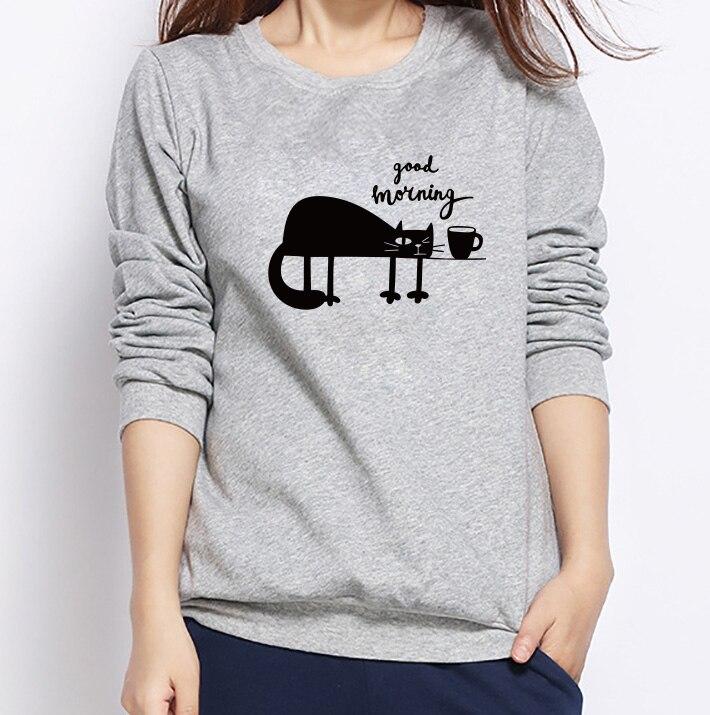 Korean College Wind Women Hoodies Fashion Cartoon Cat Sweatshirt Loose Printed Harajuku Hoodie Female Sudaderas High Quality