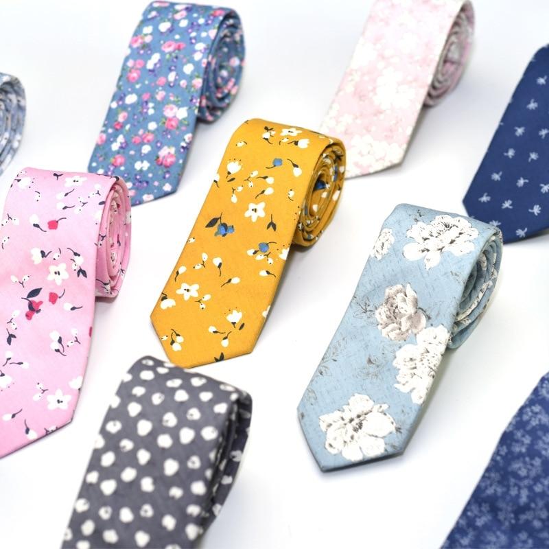 Classic Men's Flower Ties Handmade Cotton Tie For Men 6CM Narrow Floral Neckties Gift Wedding Party Casual Gravatas Cravat