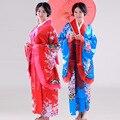 Grande manguito nacional japonés mujeres Kimono de la novedad vestido de Yukata con Obi impreso vestido de noche del partido Cospaly traje un tamaño 16