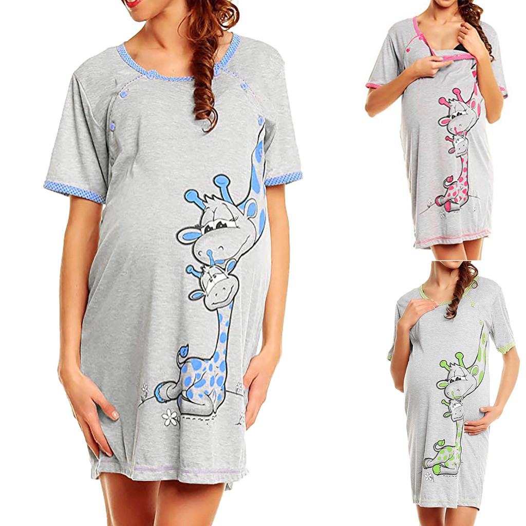 Maternity Dress Short sleeve Cartoont Giraffe Print Women Pregnant Clothes Nightgown Pregnancy Breastfeeding Dresses Loose Soft