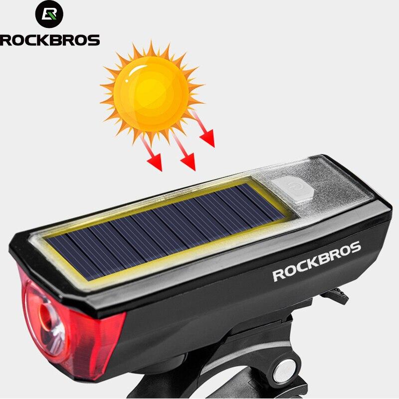 Sporting Goods Smart Rockbros Bicycle Mountain Bike Headlights Solar Charging Horn Light Flashlight