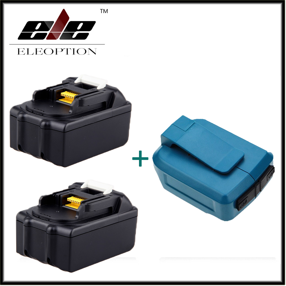 Eleoption 2x 18V 3000mAh Rechargeable Power Tools Battery For Makita BL1830 BL1840 BL1815 Li-Ion + Dual USB Charger Adapter eleoption for makita 18v 3000mah power tool battery pack for bl1830 bl1840 recharegeable battery cordless drill li ion batteries