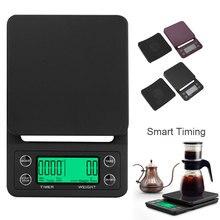 3 кг принимает массу весом до 5 кг/0,1g ЖК-дисплей цифровой Вес Кофе весы Портативный Мини Баланс Электронный таймер Кухня Кофе Еда весы чёрный; коричневый