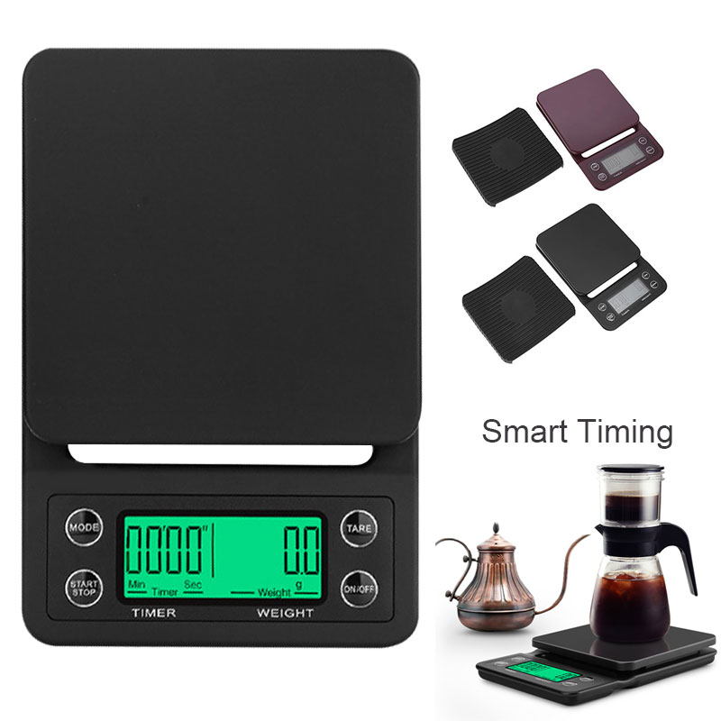 3kg 5kg/0.1g LCD Digital Weight Coffee Scales Portable Mini Balance Electronic Timer Kitchen Coffee Food Scale Black Brown