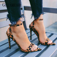 Fashion Summer Sandals Woman Shoes High Heels Leopard Peep Toe Buckle Strap Women Party Shoes  Heels Mujer Sandalia New Arrival недорго, оригинальная цена