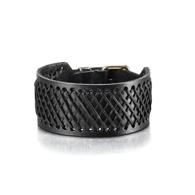 Punk Fashion Men's Leather Barcelets Solid Color Simple Arm Warmers Unique Gift
