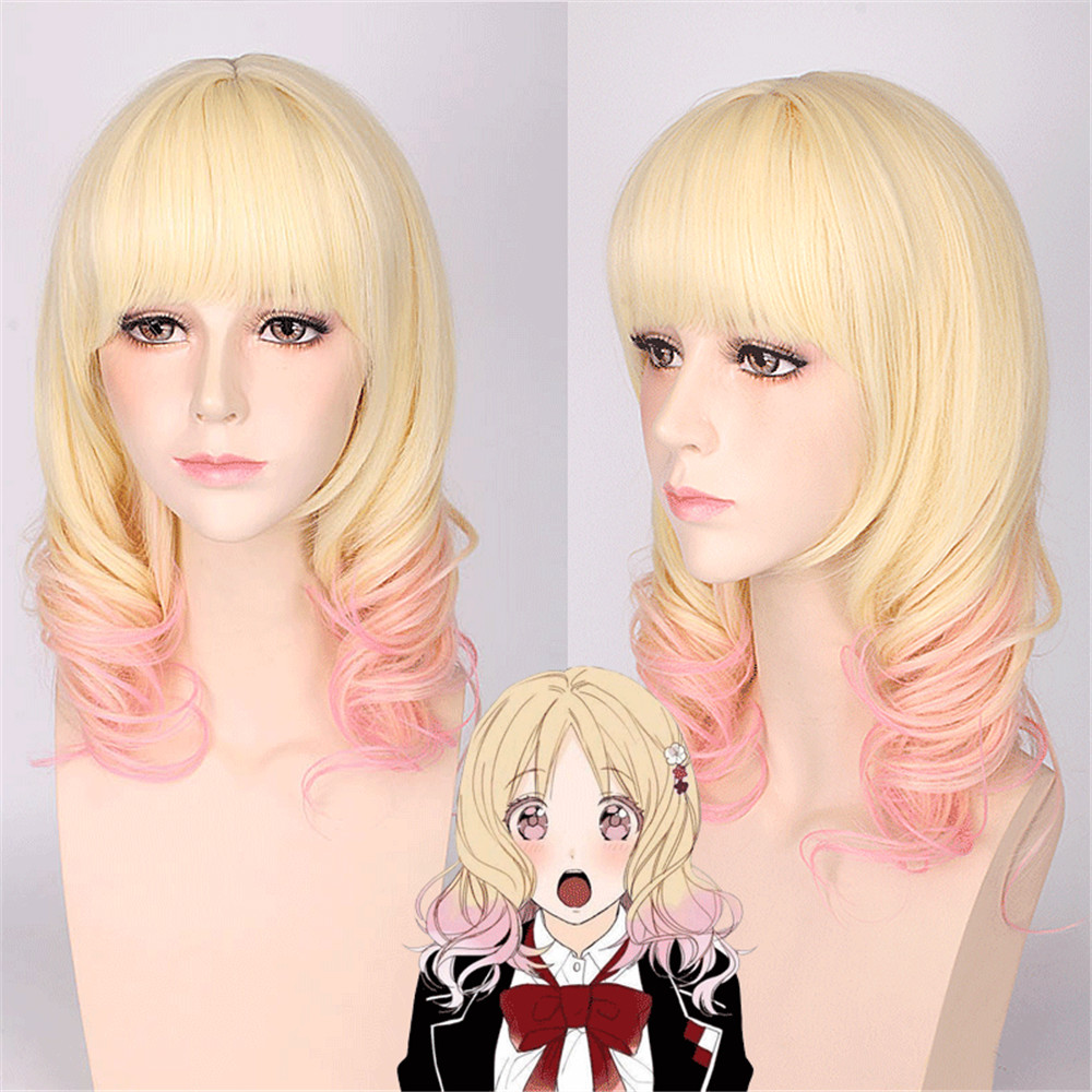 Diabolik Lovers Komori Yui Pink Blonde Ombre Mix Curly Medium Flat Bangs Styled Synthetic Hair Cosplay Full Wigs Women