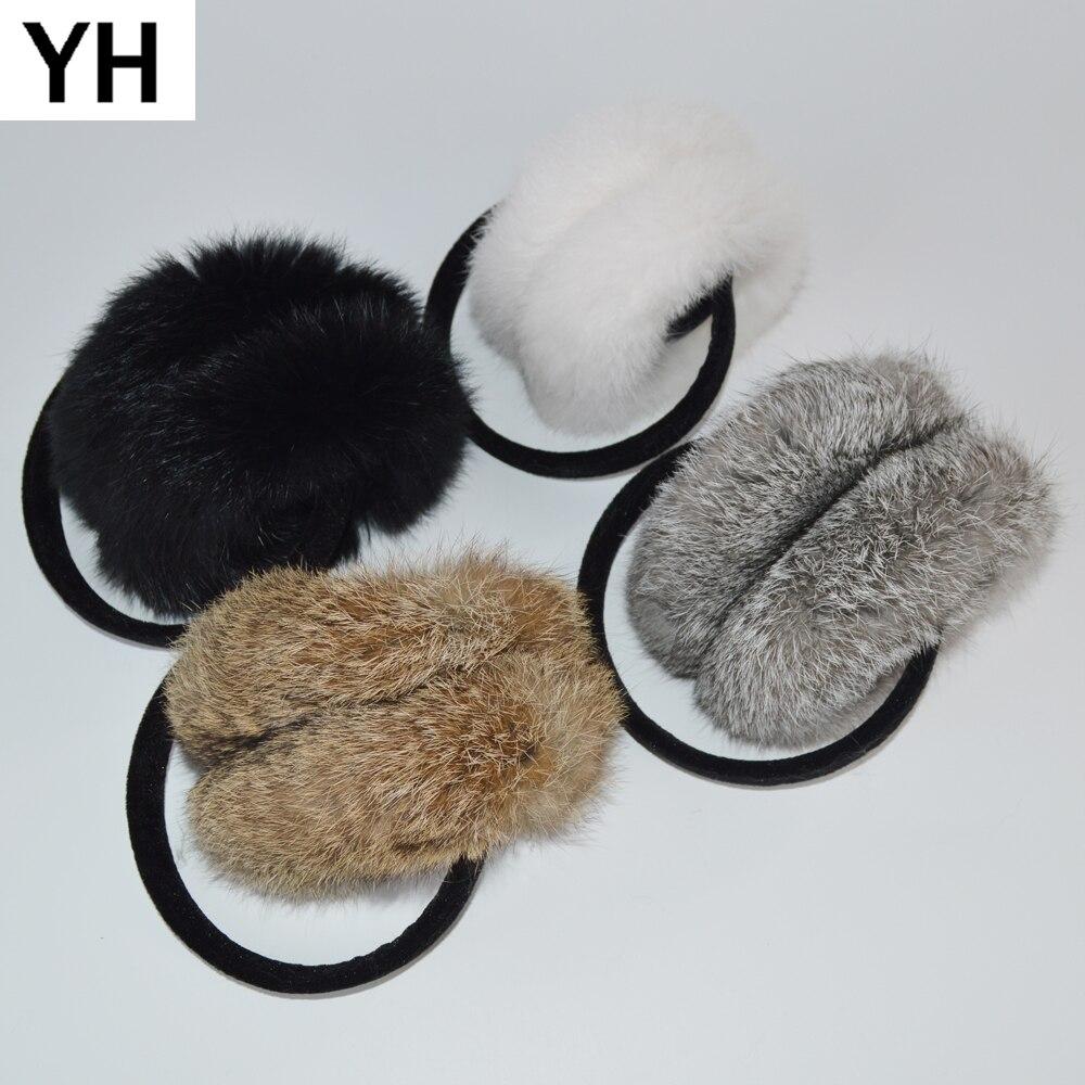 2018 Heißer Frauen Mode Trend Winter Echt Kaninchen Pelz Ohrenschützer Natürliche Kaninchen Pelz Ohr Muffs Thermische Mädchen Echtpelz Ohrenschützer Paket