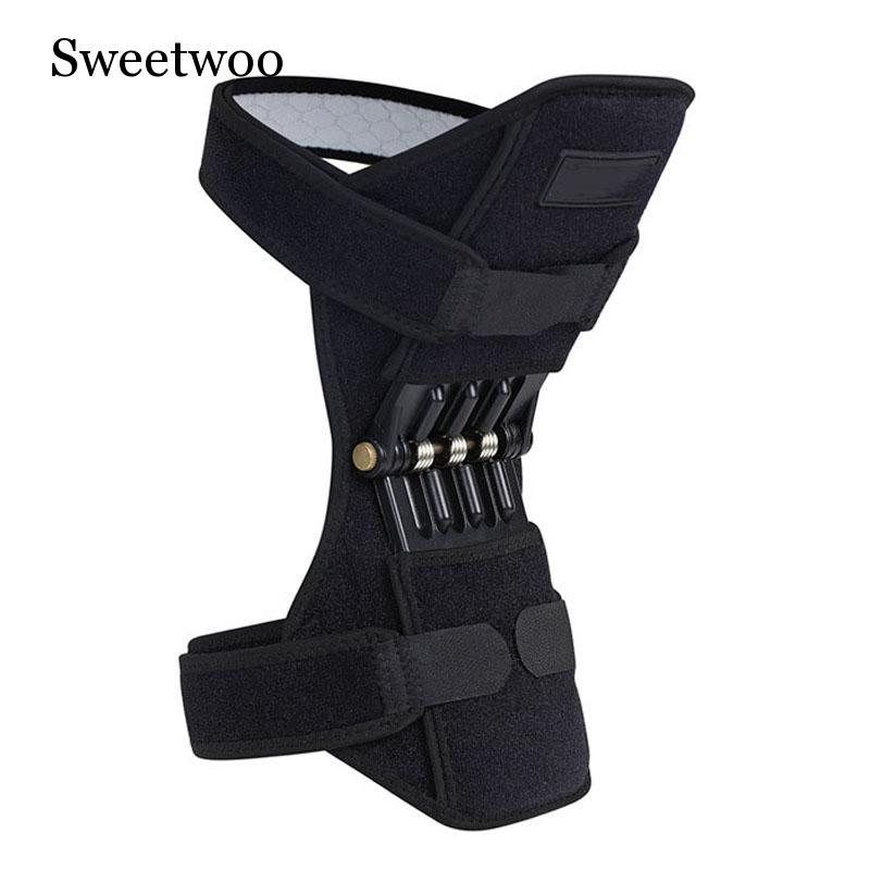 1 Pair Breathable Non-slip Lift Joint Support Knee Pads Powerful Rebound Spring Force Booster