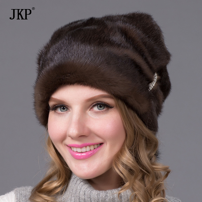 Real Mink fur hat for women winter fur hat with Rhinestone Brown beanie mink cap