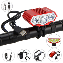 Real 15000lm 3x XM-LT6 Led Bike Light Power Bank Rechargeable Cycle Lamp With 6400mAh Battery AC Charger Headband Rear Light