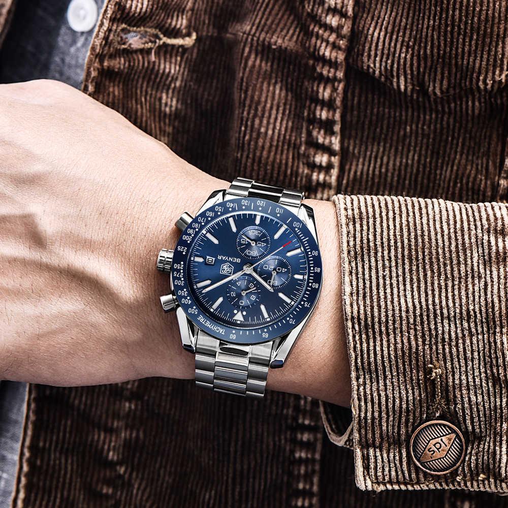 الرجال ساعة BENYAR العلامة التجارية الفاخرة كامل الصلب الأعمال ساعة كوارتز الرجال عادية مقاوم للماء الساعات الرياضية ساعة Relogio Masculino